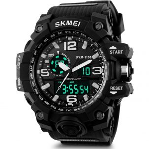 Skmei Analogue-Digital Black Dial Men's Watch features original Japanese quartz movement for precise and accurate time keeping.
